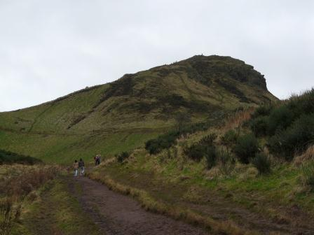 "Arthur's Seat, viewed from one of many well-worn access trails. Who ""Arthur"" was is unclear."