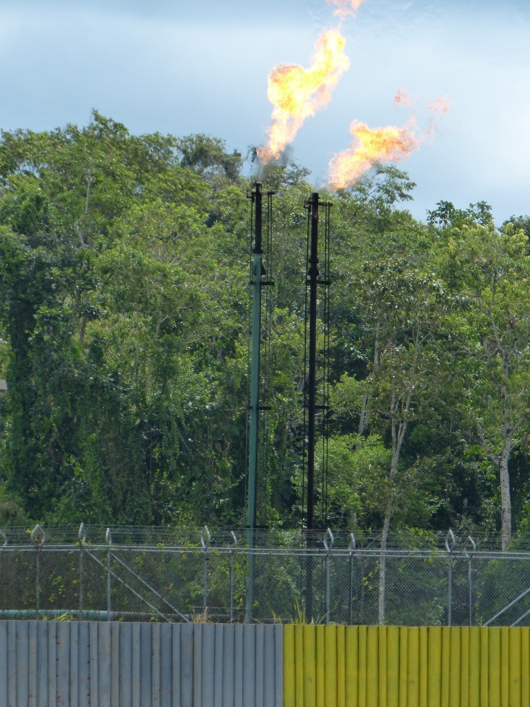 Gas flares from oil extraction along Napo River.